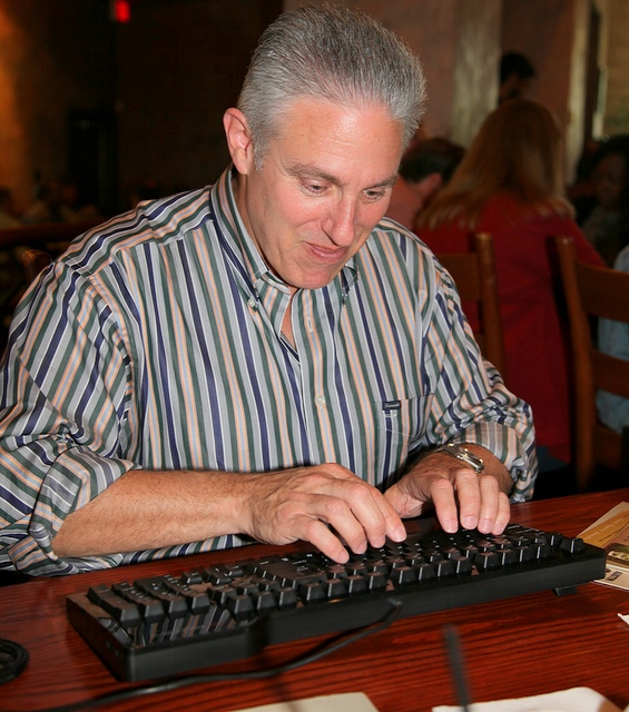 Scott Kauffman typing on Das Keyboard