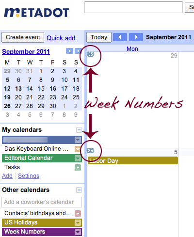 Week number in Google Calendar