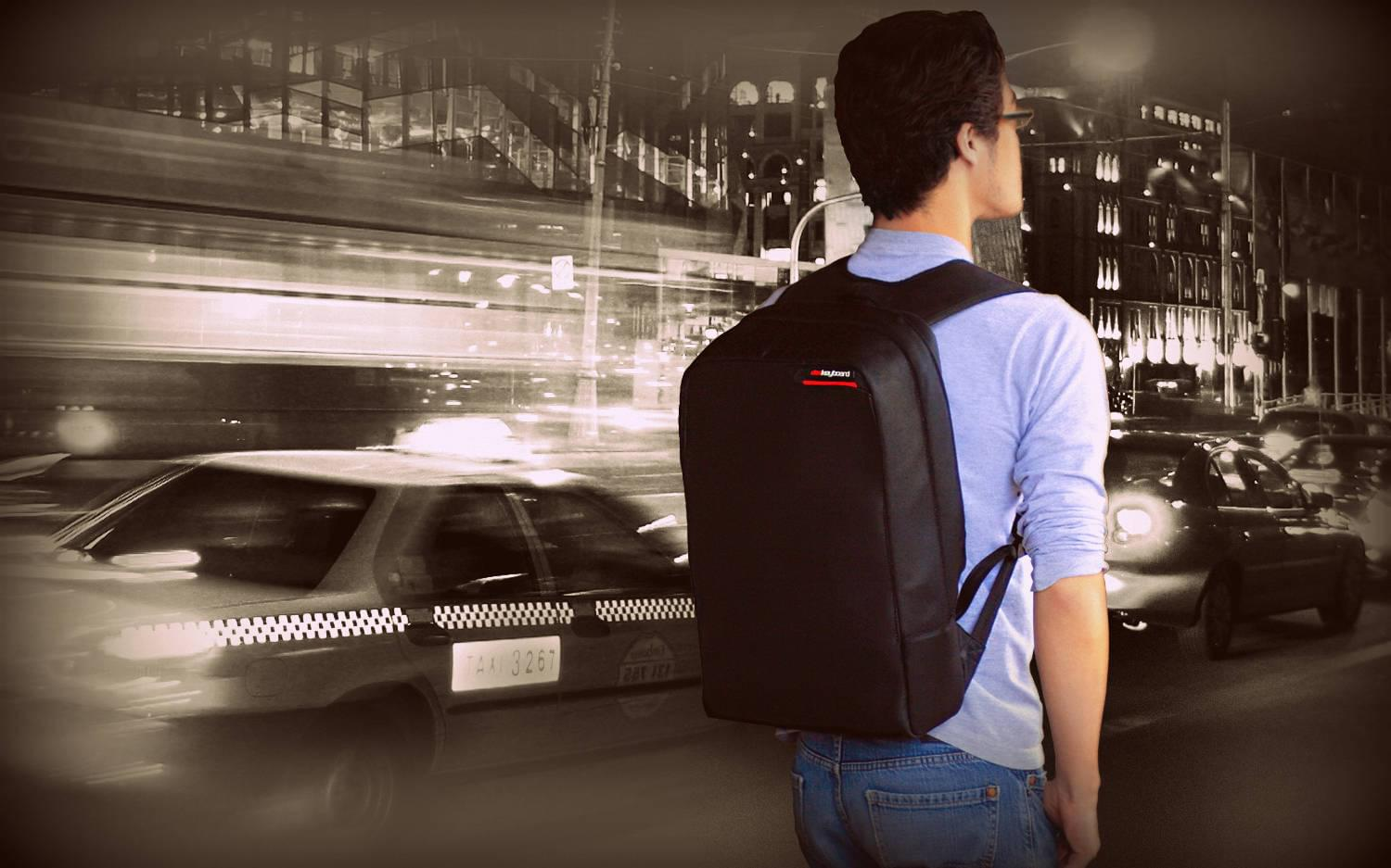 Hackshield Backpack on shoulders