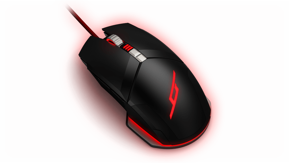 M50 mouse top angled view